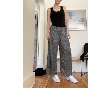 NWT Sparkly Silver Wide Leg Pants